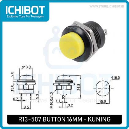 Push Button R13-507 Self Reset 16MM – Kuning