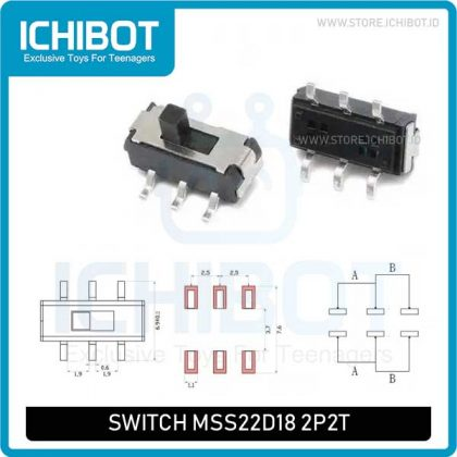 Toggle Switch Saklar MSS22D18 2P2T SMD 6 Kaki
